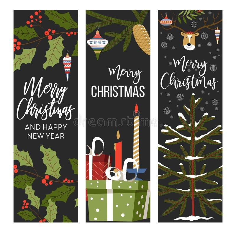 Glad jul och lyckligt nytt år, beröm för vinterferie vektor illustrationer