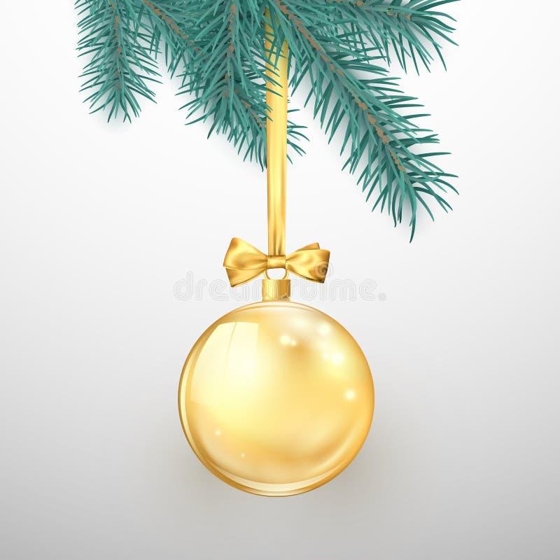 Glad jul och lyckligt nytt år Feriegarneringbeståndsdelar Guld- blänka julbollen med det guld- bandet och pilbågen vektor illustrationer