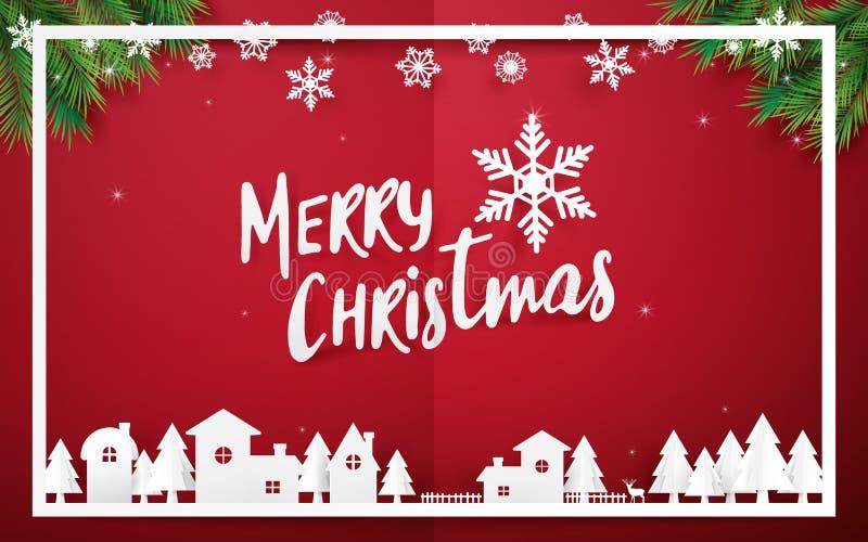 Glad jul och lyckligt nytt år Glad jul som märker med julgranar på röd bakgrund pappers- konst- och origamistil stock illustrationer