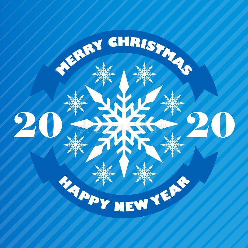 Glad jul och lyckligt nytt år 2020 - hälsa kort med snöflingor Glad jul och lyckligt nytt ?r vektor stock illustrationer
