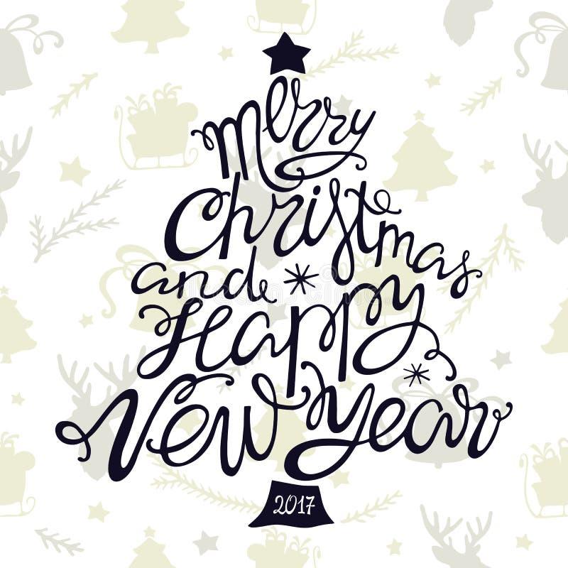 Glad jul och lyckligt nytt år, handdrawn bokstäver i formen av träd stock illustrationer