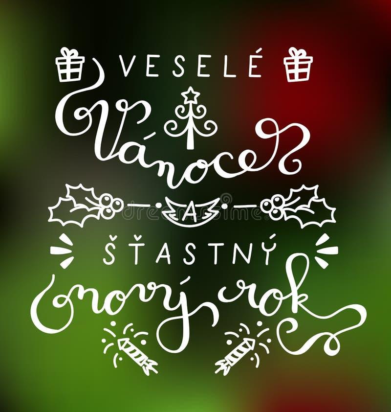 Glad jul och lyckligt nytt år i tjeck stock illustrationer