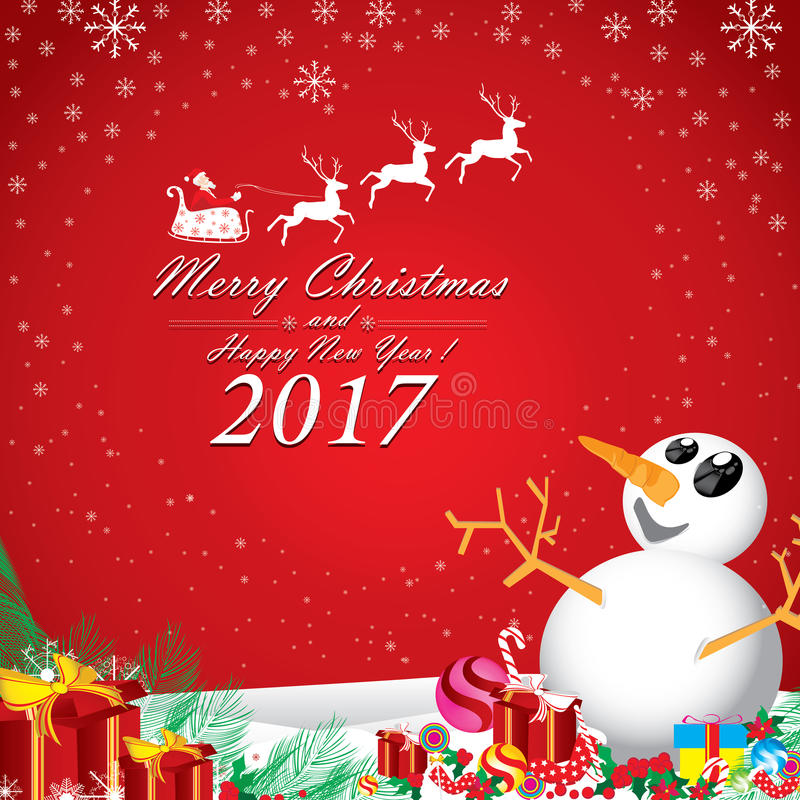 Glad jul och lyckligt nytt år i vinter Santa Claus och ren, snögubbe på röd bakgrund royaltyfri illustrationer