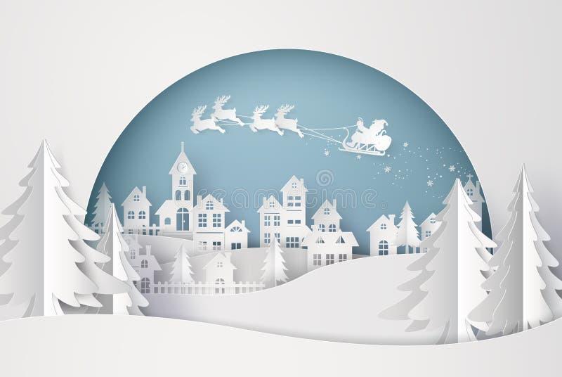 Glad jul och lyckligt nytt år Illustration av Santa Claus på himlen som kommer till staden royaltyfri illustrationer