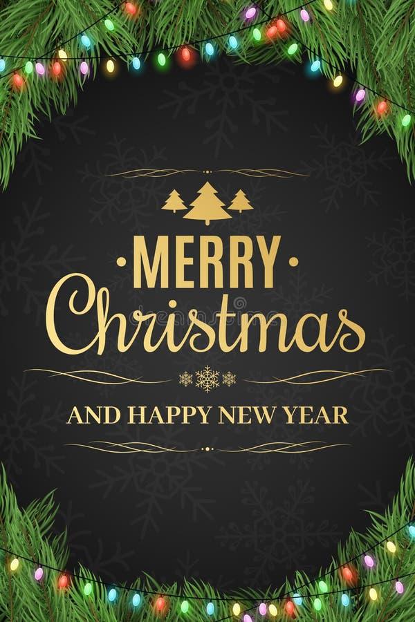 Glad jul och lyckligt nytt år Julgran girland lyckligt nytt år Guld- text på en mörk bakgrund med en modell av snöflingor royaltyfri illustrationer