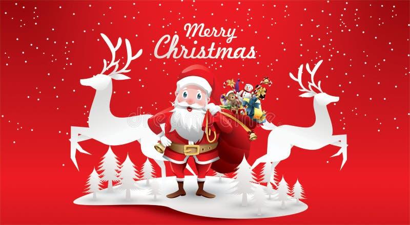 Glad jul och lyckligt nytt år Jultomte ren med en säck av gåvor i julsnöplats vektorillustration att hälsa vektor illustrationer