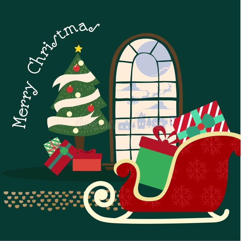Glad jul och lyckligt nytt år, jultomten i en släde med reind stock illustrationer