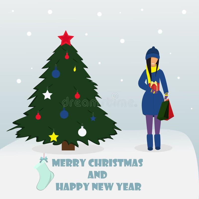 Glad jul och lyckligt nytt år Kvinnaanseende med gåvan också vektor för coreldrawillustration royaltyfri illustrationer