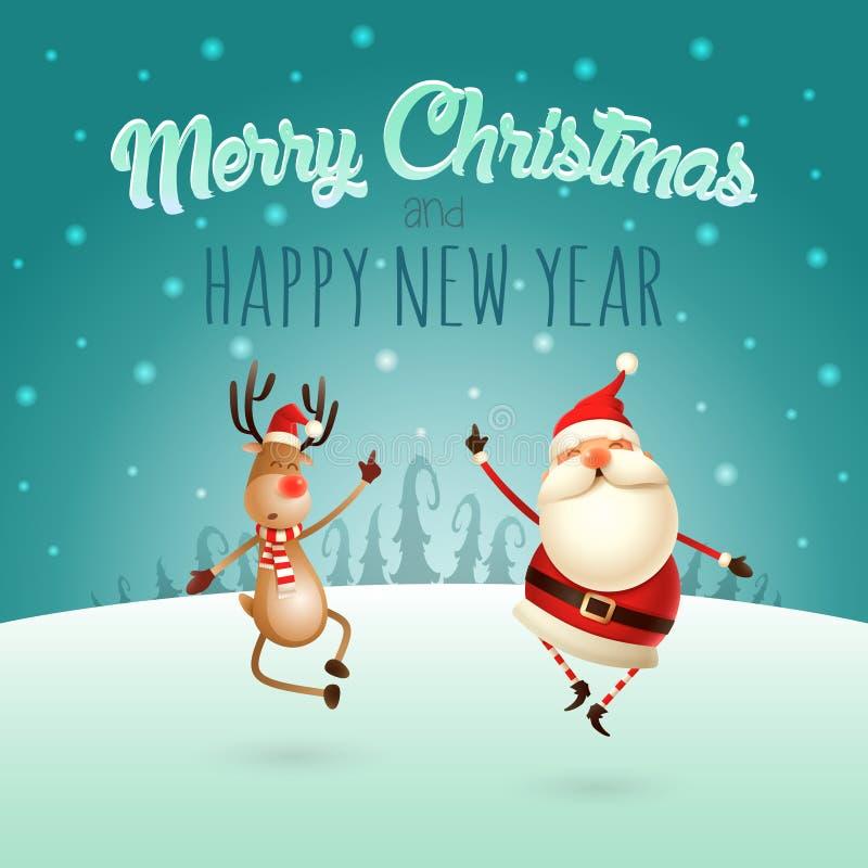 Glad jul och lyckligt nytt år - lycklig expresion av Santa Claus och renen - dem hoppa som är rakt upp och att komma med deras hä royaltyfri illustrationer