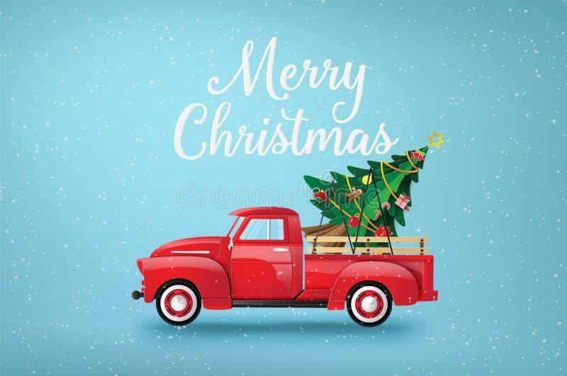 Glad jul och lyckligt nytt år med den röda lastbilen vektor illustrationer