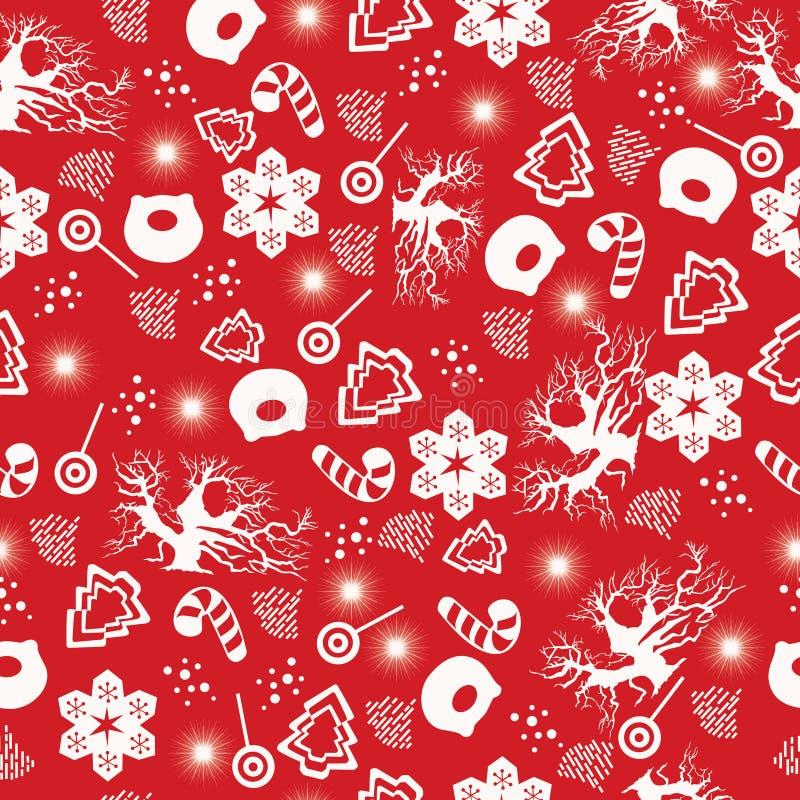 Glad jul och lyckligt nytt år Sömlös modell för jul med trädet för nytt år, svin, snöflingor, sötsaker, snögubbe, vinterträd stock illustrationer