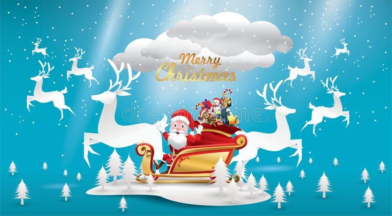 Glad jul och lyckligt nytt år Santa Claus är rider rensläden med en säck av gåvor i julsnöplats Vektorillus vektor illustrationer