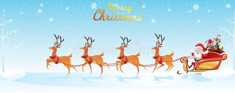 Glad jul och lyckligt nytt år Santa Claus är rider rensläden med en säck av gåvor i julsnöplats Vektorillus stock illustrationer