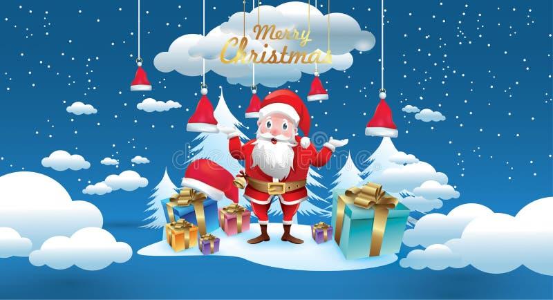 Glad jul och lyckligt nytt år Santa Claus med en säck av gåvor i julsnöplats Kort för vektorillustrationhälsning royaltyfri illustrationer