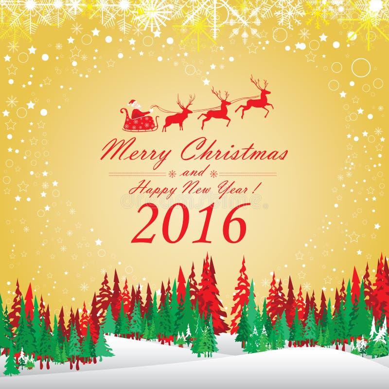 Glad jul och lyckligt nytt år 2016 Santa Claus och röd ren Julgranen och snön på röd bakgrund royaltyfri illustrationer