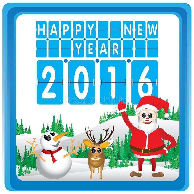 Glad jul och lyckligt nytt år 2016 Santa Claus och ren Julgranen och snön på vit bakgrund stock illustrationer