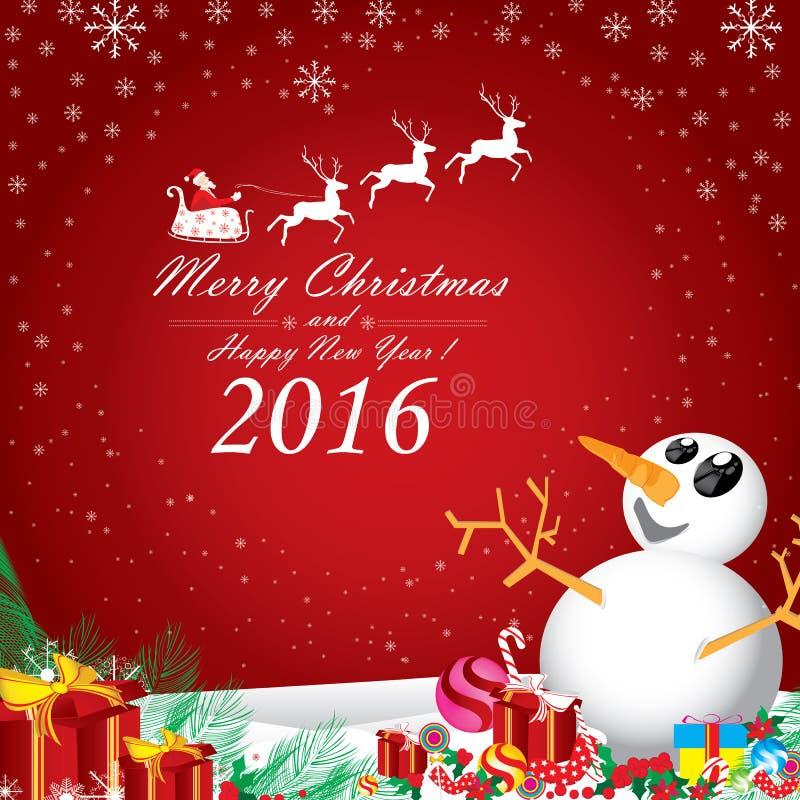 Glad jul och lyckligt nytt år 2016 Santa Claus och vit ren vektor illustrationer