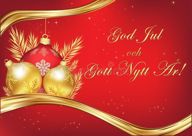 Glad jul och lyckligt nytt år som är skriftliga i svenskt, säsongs hälsa kort stock illustrationer