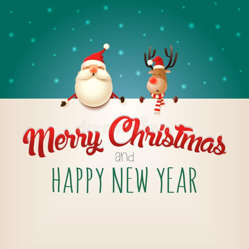 Glad jul och lyckligt nytt år som önskar dig Santa Claus och renen på affischtavlan - grön bakgrund stock illustrationer