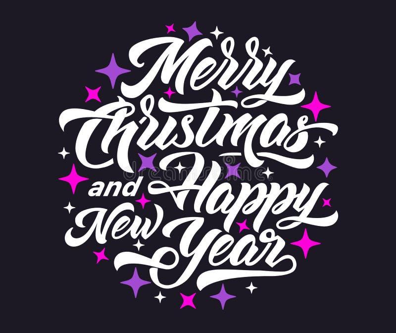 Glad jul och lyckligt nytt år 2019 som märker stock illustrationer