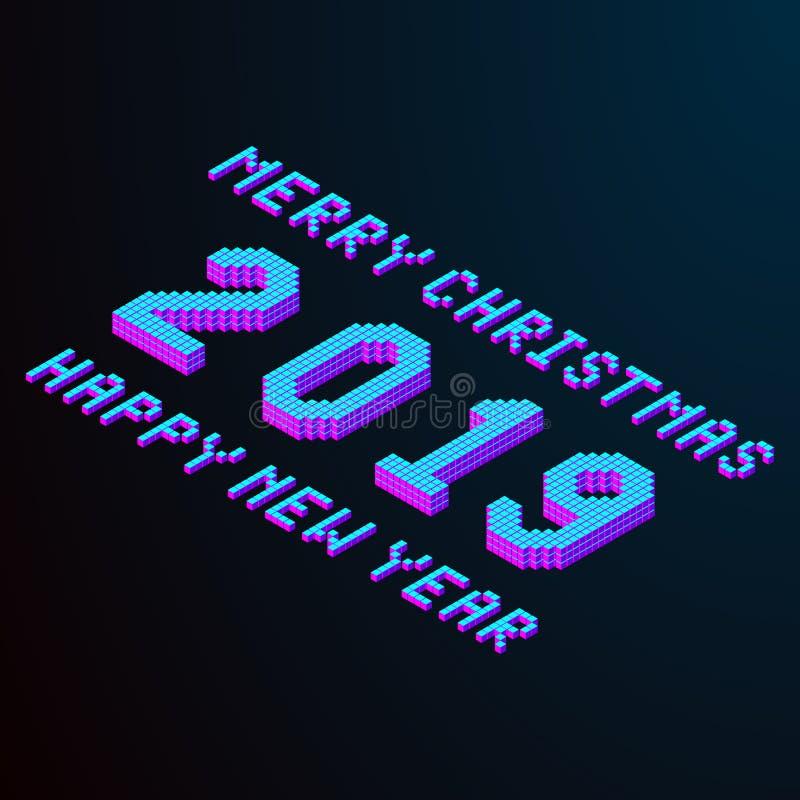 Glad jul och lyckligt nytt år 2019 som märker isometrisk textbeståndsdel för PIXEL för design i modern färg Materielvektor vektor illustrationer