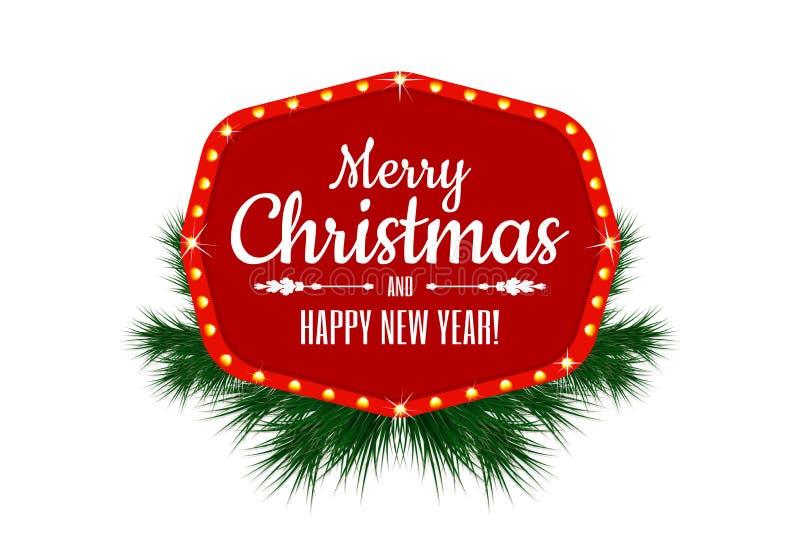 Glad jul och lyckligt nytt år Tappningtecken, baner eller ram för feriegarnering med julgranfilialer stock illustrationer