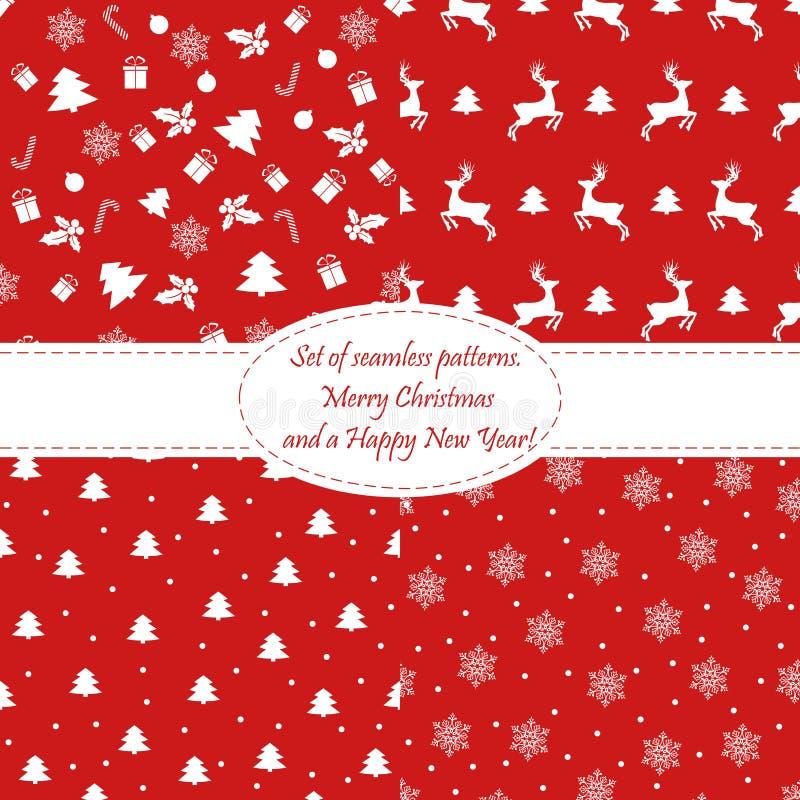 Glad jul och lyckligt nytt år! Uppsättning av sömlösa bakgrunder med traditionella symboler: ren gran-träd, snöflingor Vektor c stock illustrationer