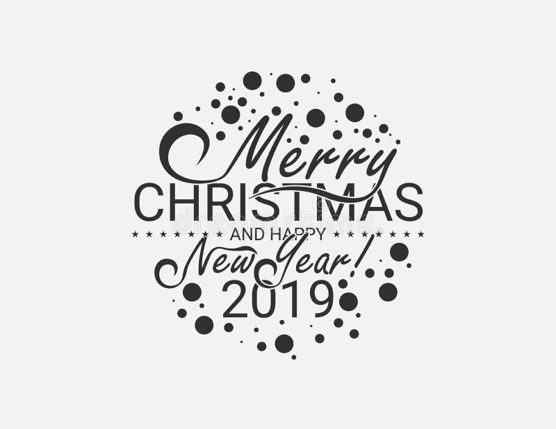 Glad jul och lyckligt nytt år 2019, vektorbakgrund, design stock illustrationer