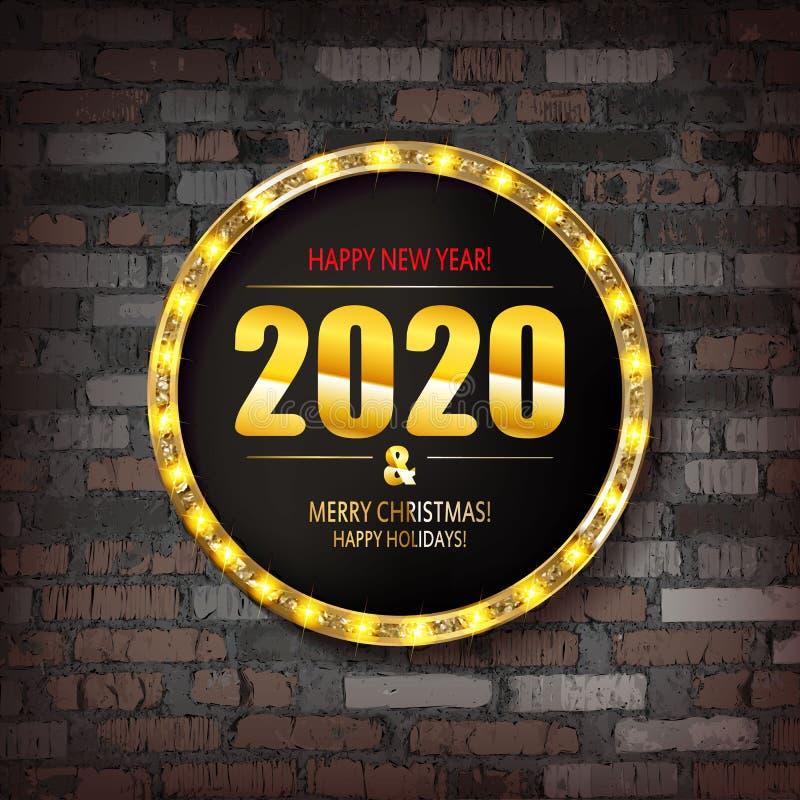 Glad jul och lyckligt nytt ?r 2020 royaltyfri illustrationer