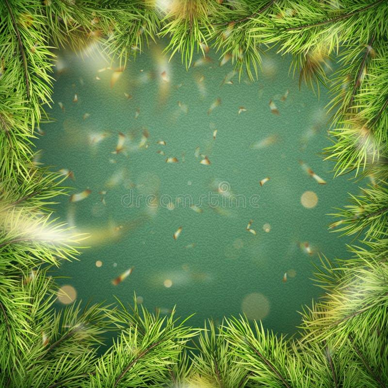 Glad jul och mall för lyckligt nytt år med filialer för feriegranträd, bokeh, guld- konfetti Top beskådar 10 eps vektor illustrationer