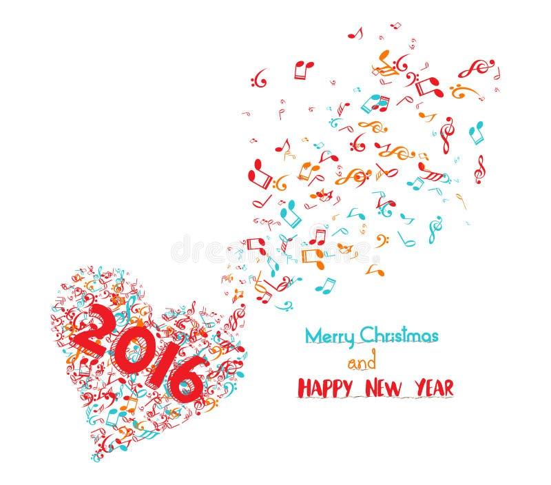 Glad jul och musikalen 2016 för lyckligt nytt år är min anda stock illustrationer