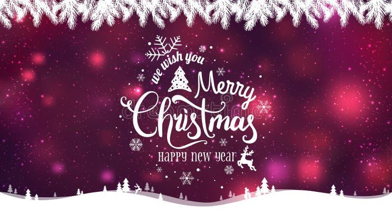 Glad jul och nytt år som är typografiska på feriebakgrund med vinterlandskapet med snöflingor, ljus, stjärnor royaltyfri illustrationer