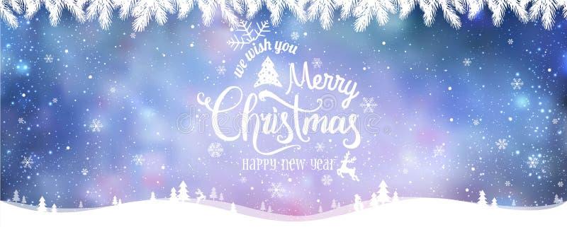 Glad jul och nytt år som är typografiska på feriebakgrund med vinterlandskapet med snöflingor, ljus, stjärnor stock illustrationer