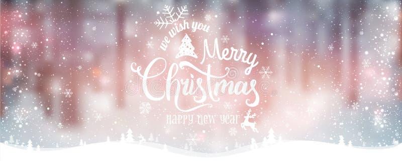 Glad jul och nytt år som är typografiska på feriebakgrund med vinterlandskapet med snöflingor, ljus, stjärnor vektor illustrationer