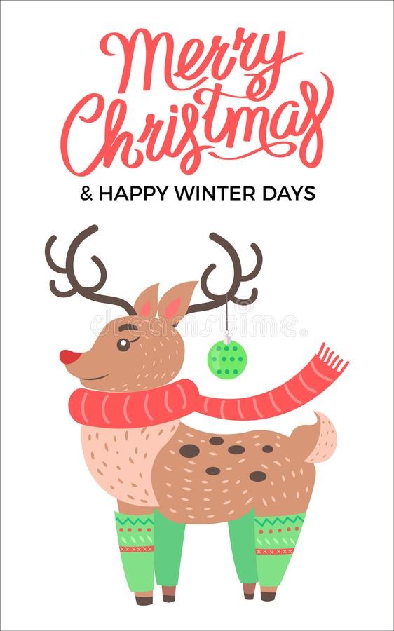 Glad jul och renvektorillustration vektor illustrationer
