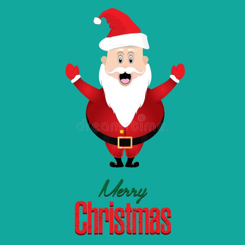Glad jul och Santa Claus på grönt bakgrundskort stock illustrationer