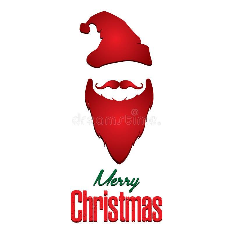 Glad jul och Santa Claus som isoleras på vit bakgrund vektor illustrationer