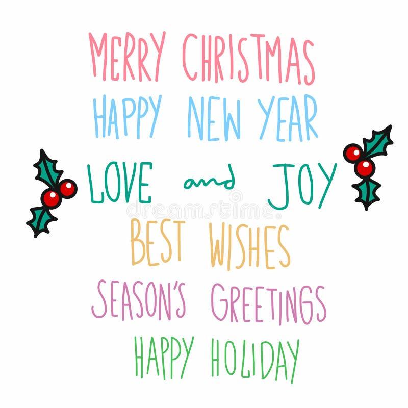 Glad jul och stil för klotter för citationsteckenhandskriftillustration vektor illustrationer