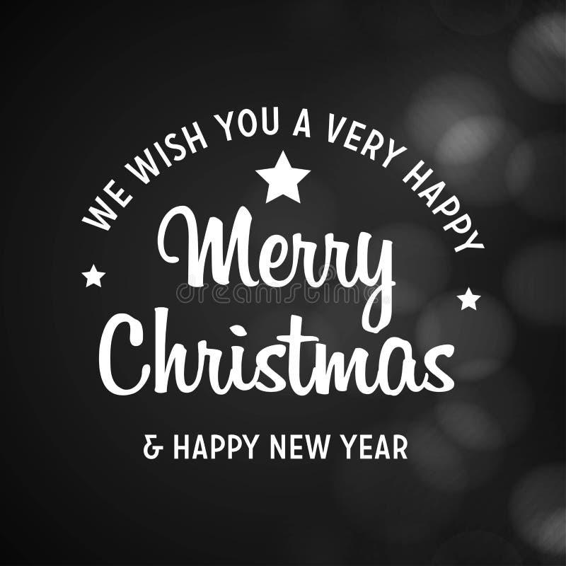 Glad jul och svart bakgrund för lyckligt nytt år 2019 vektor illustrationer