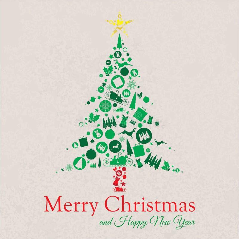 Glad jul och trädcollage för lyckligt nytt år royaltyfri bild