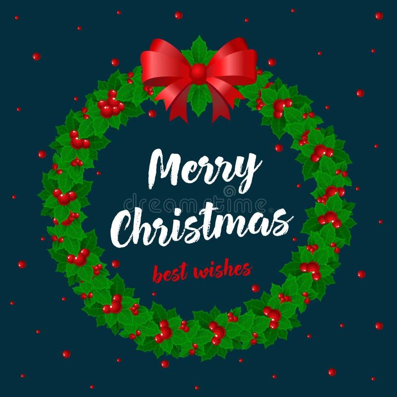 Glad jul och vektorkort för lyckligt nytt år Rund ramjärnek för ferier, ilexfilial med bäret och sidor, mistel vektor illustrationer