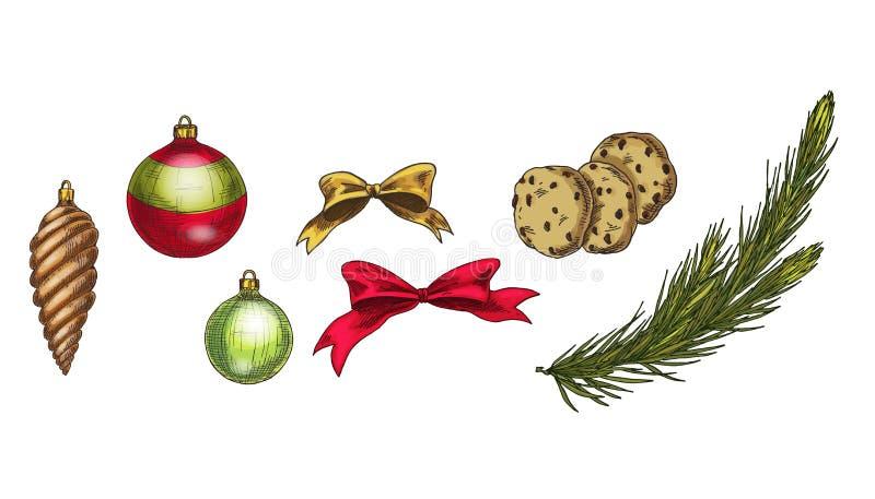 Glad jul och vektoruppsättning för lyckligt nytt år Pepparkakakaka, kotte, granfilial, pilbågar och exponeringsglasbollar som iso royaltyfri illustrationer