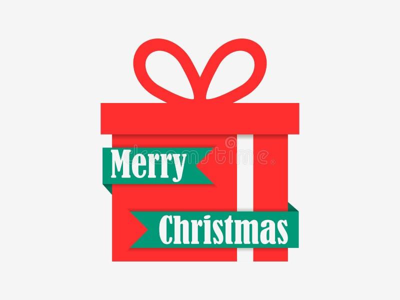 glad jul Röd gåvaask och band på vit bakgrund Beståndsdelar av det hälsa kortet vektor stock illustrationer