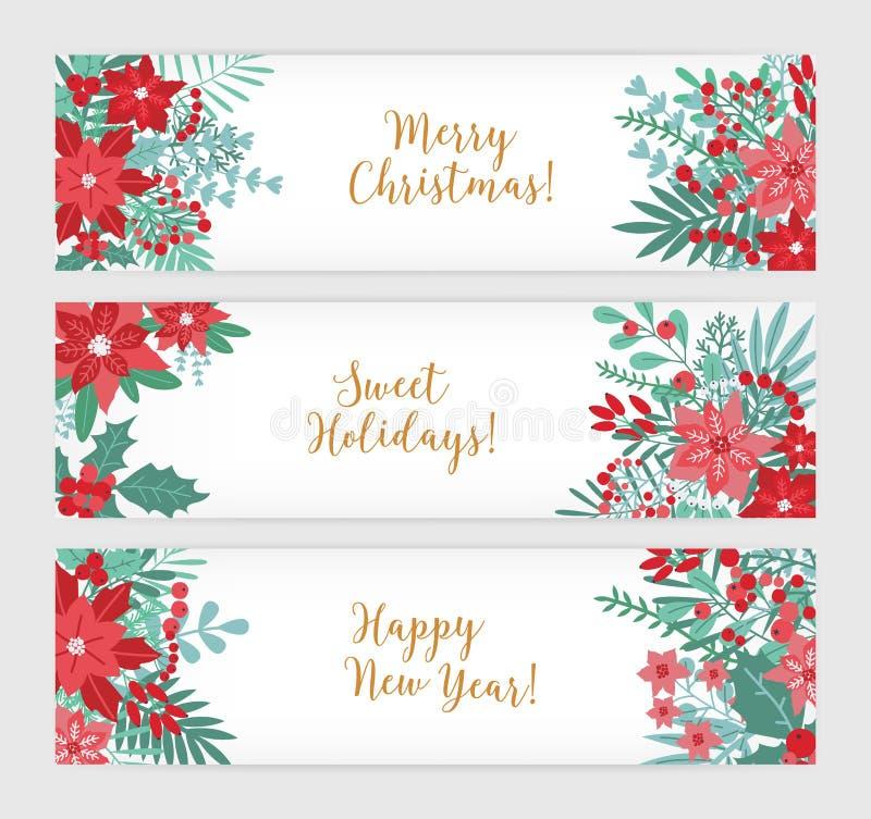 Glad jul, söta ferier och lyckligt nytt år Samlingen av festliga horisontalbanermallar dekorerade med stock illustrationer