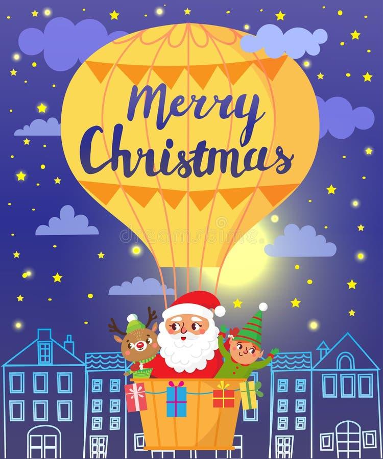 glad jul Santa Claus, hjortar och älva på ballongen för varm luft royaltyfri illustrationer