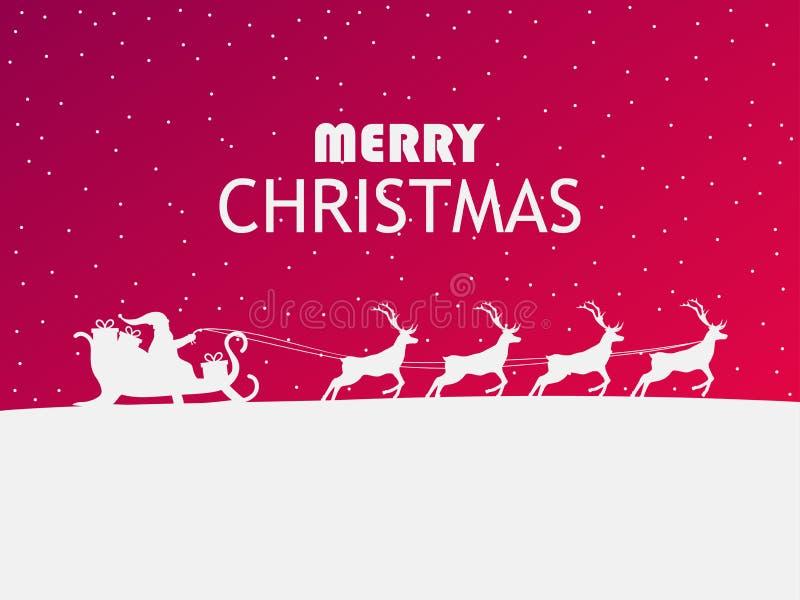 glad jul Santa Claus i en släde med renen Hälsningkort med vinterlandskapdesign vektor royaltyfri illustrationer