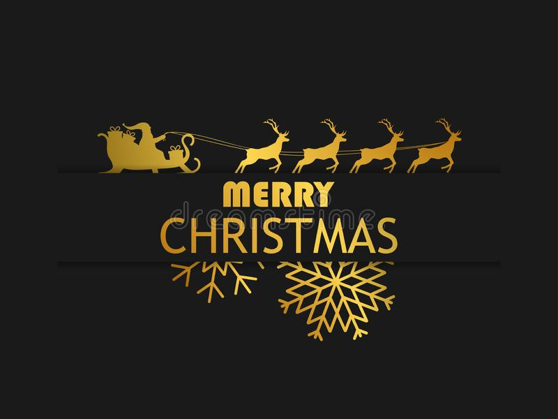 glad jul Santa Claus i en släde med renen på svart bakgrund Mall för hälsningkortdesign med guld- lutning stock illustrationer
