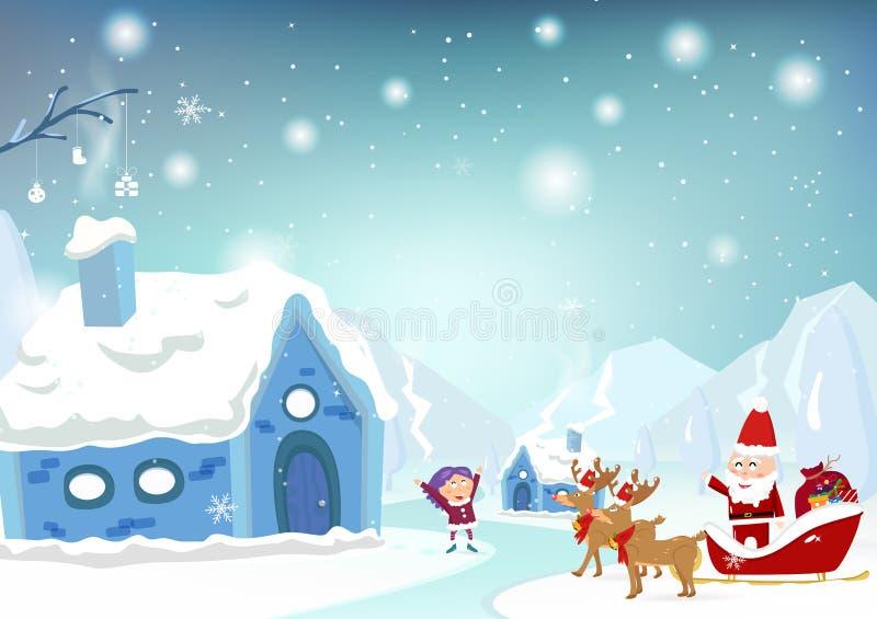 Glad jul, Santa Claus kommer till staden med renbilen royaltyfri illustrationer