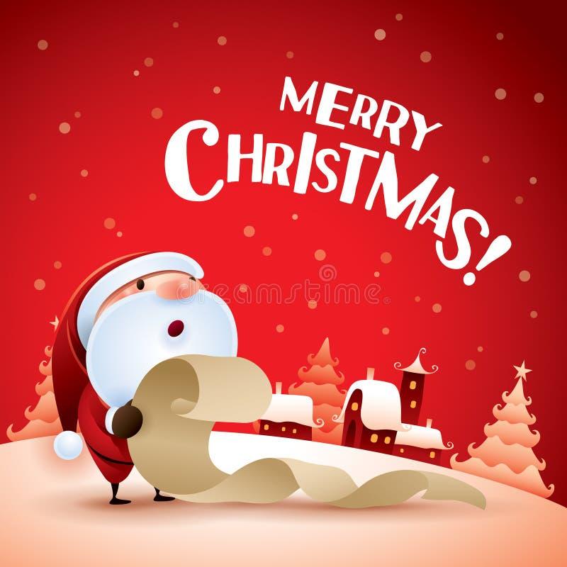 Glad jul! Santa Claus kontrollerande lista royaltyfri illustrationer