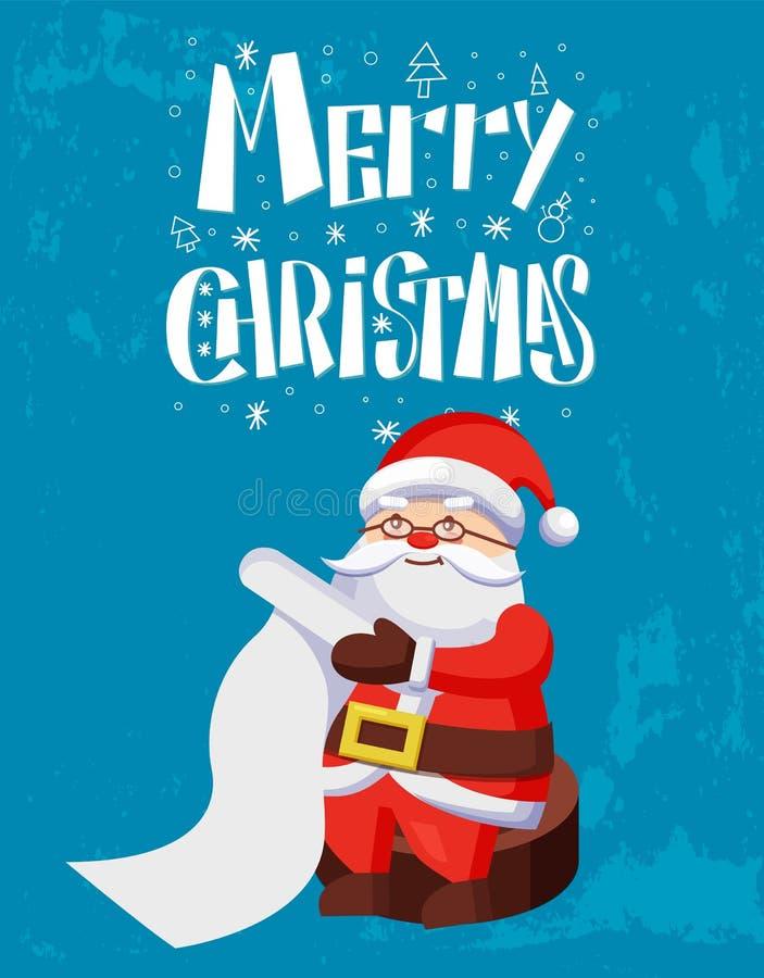 Glad jul, Santa Claus Reading Wish List royaltyfri illustrationer